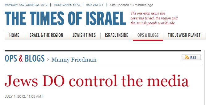 "The Andrew Carrington Hitchcock Show (803) Paul English – The Times Of Israel's, ""Jews DO Control The Media,"" Article By Manny Friedman"