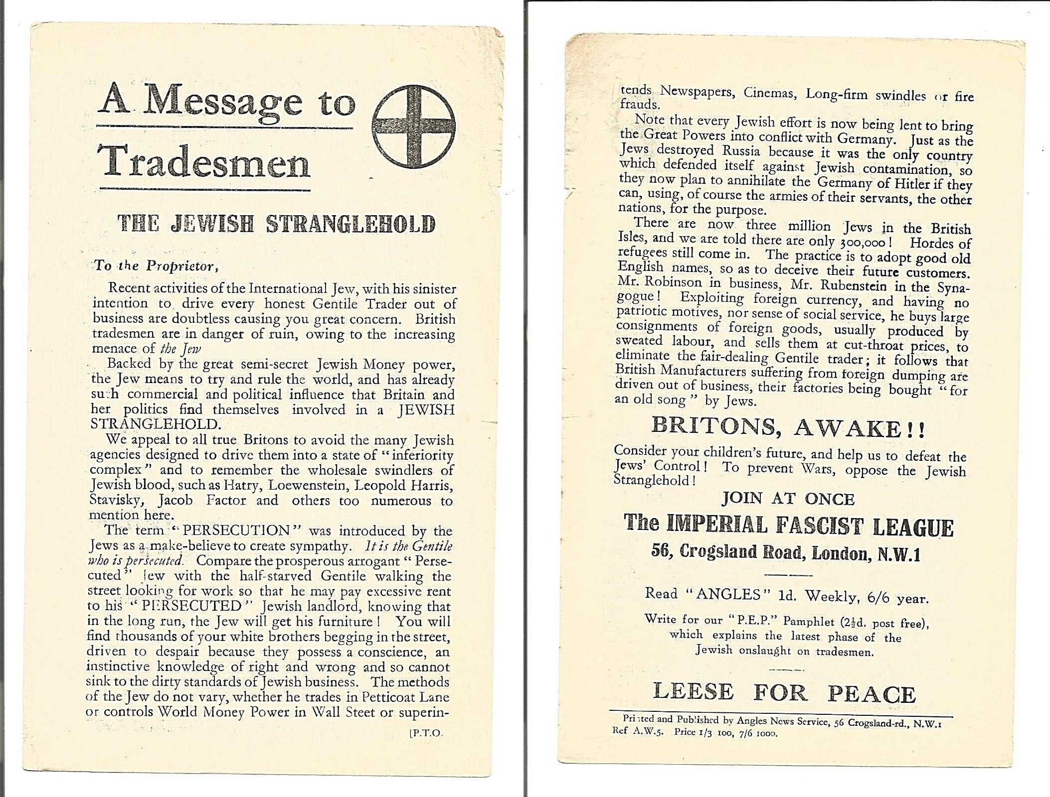 """The Andrew Carrington Hitchcock Show (873) Paul English – Arnold Leese's """"A Message To Tradesmen."""""""